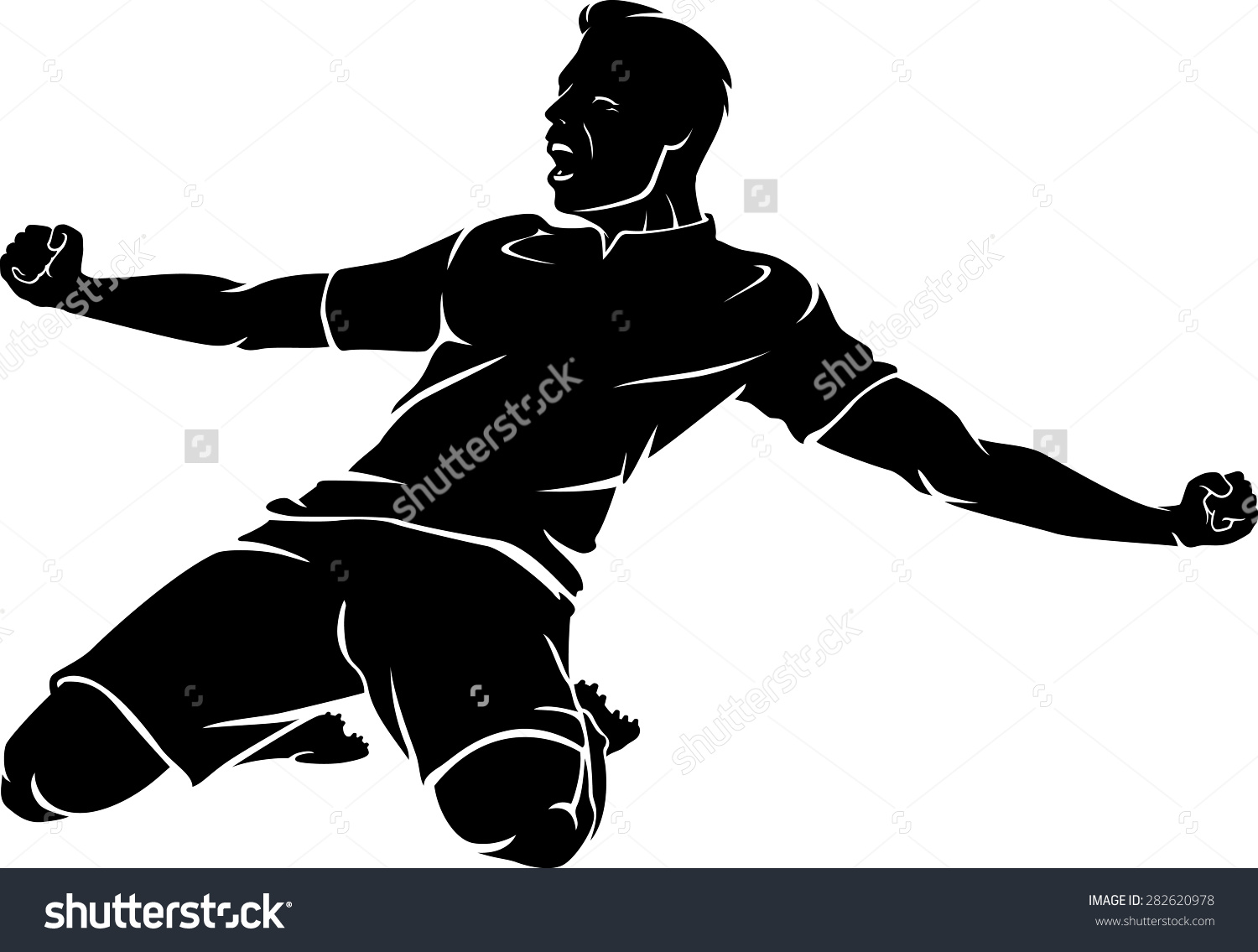 Soccer Kneeling Celebrate Winning Goal Stock Vector 282620978.