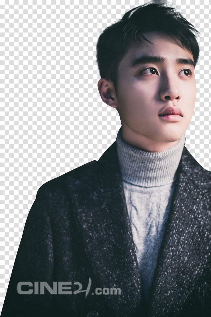 EXO KYUNGSOO , man\'s portrait graphy wearing black coat and.