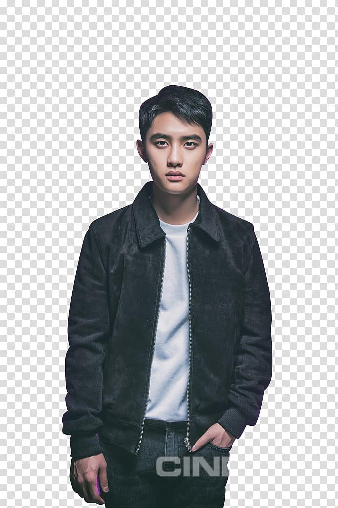 EXO KYUNGSOO , man wearing black jacket standing transparent.