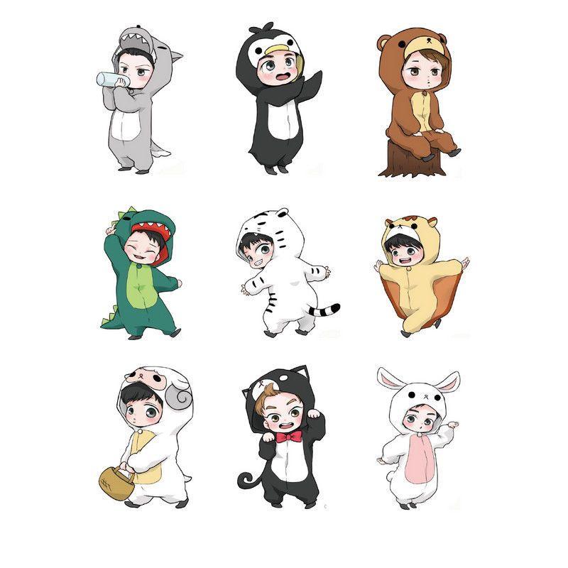 EXO Cartoon Animal Decal Stickers 9pcs/Set.