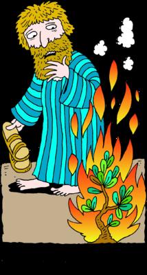 Image: Moses Removing Sandals Before Burning Bush.