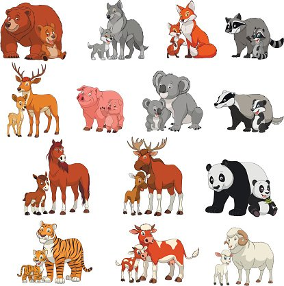 Funny exotic animals Clipart Image.