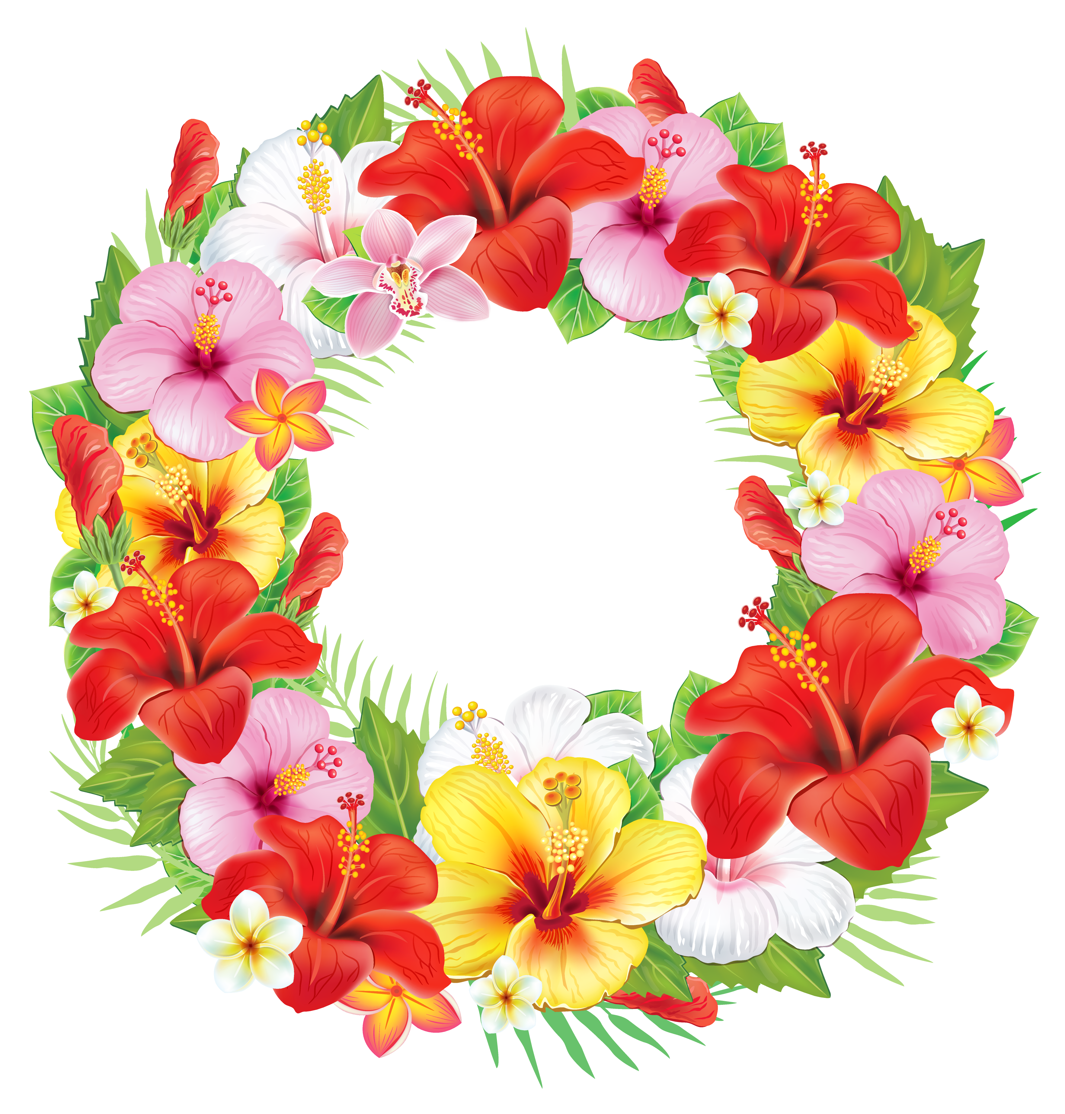 Wreath of Exotic Flowers PNG Clipart Picture.