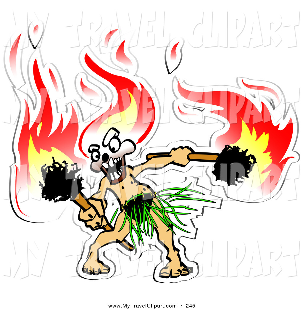 Clipart of a Exotic Hula Dancer with Flaming Tiki Torches in Hand.