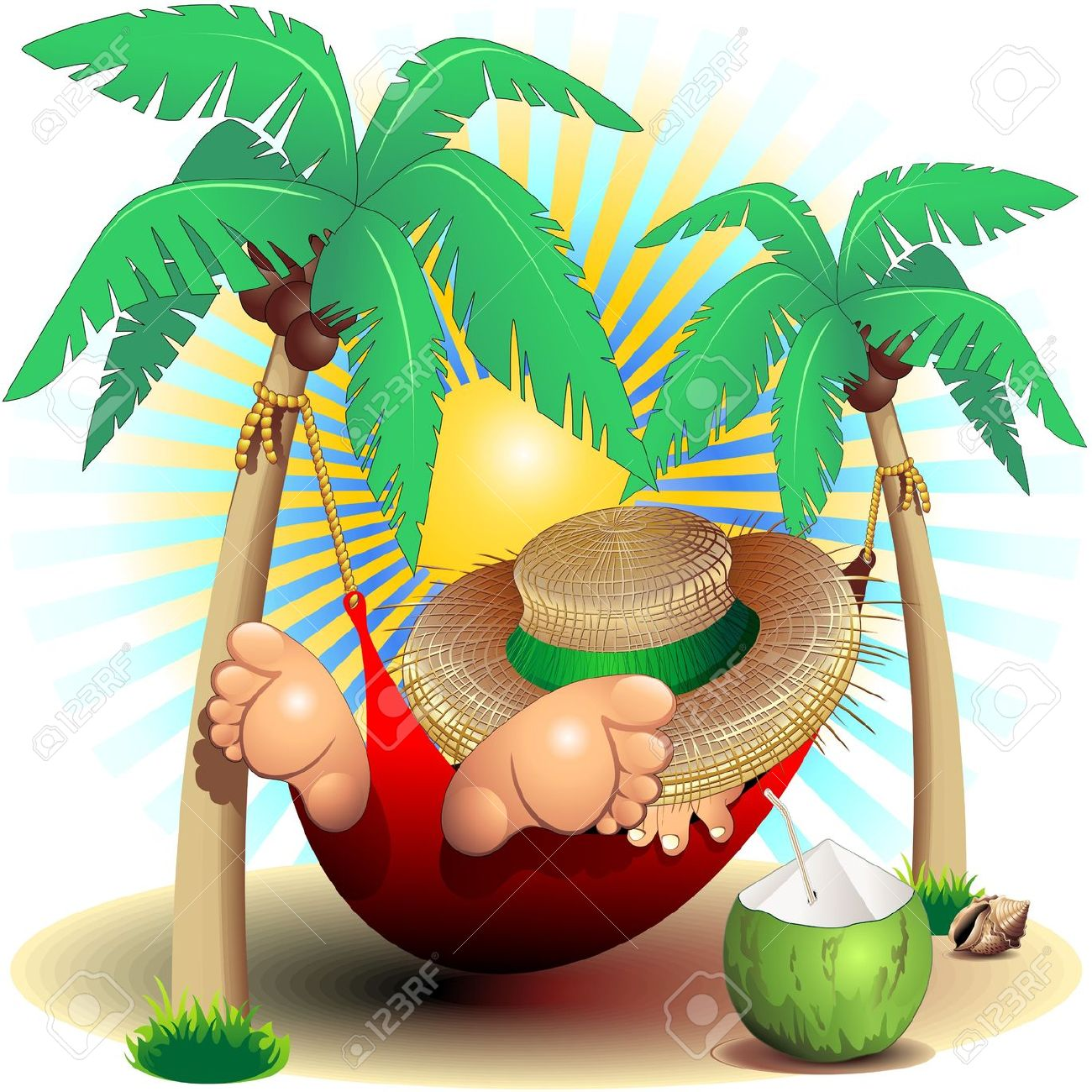 Relax Exotic Summer Holidays On Hammock Clip Art Royalty Free.