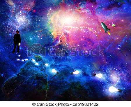 Clip Art of Man considering the expanse of space csp19321422.