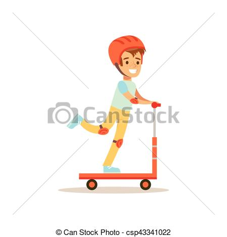 Vector Illustration of Boy In Helmet Riding Scooter, Traditional.