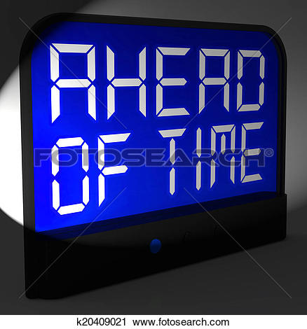 Clipart of Ahead Of Time Digital Clock Shows Earlier Than Expected.