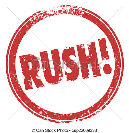 Stock Photos of Rush Word Red Round Stamp Hurry Expedite Emergency.