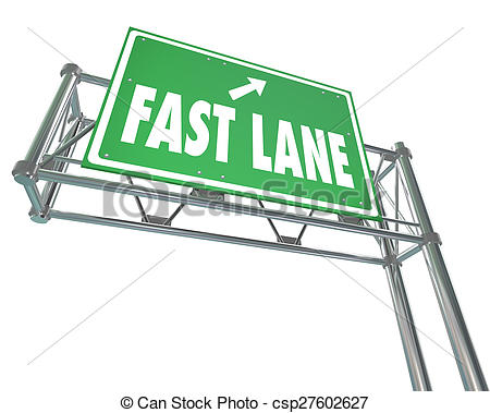 Clip Art of Fast Lane Words Green Freeway Highway Road Sign Quick.