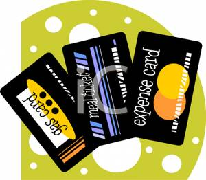 Free Clipart Image: Three Separate Charge Cards, One For Expenses.