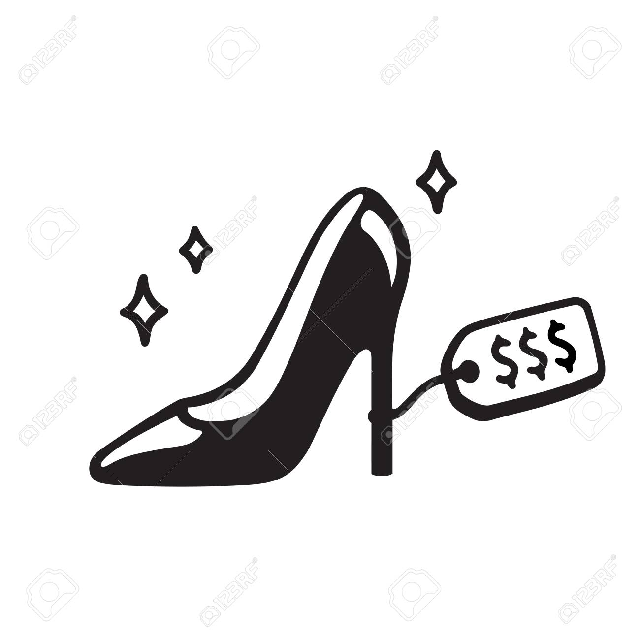 Expensive high heel shoe drawing. Shopping and fashion vector...
