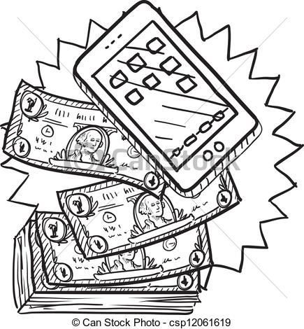Vector Clip Art of Cell phones are expensive sketch.