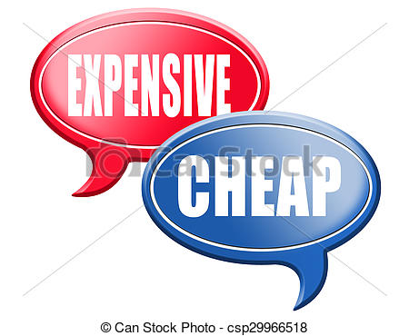 Clipart of expensive versus cheap.