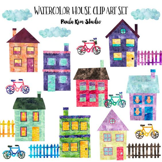Neighborhood Clip Art Watercolor House Clipart by PaulaKimStudio.