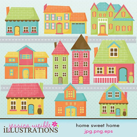 Home Sweet Home Cute Digital Clip Art.