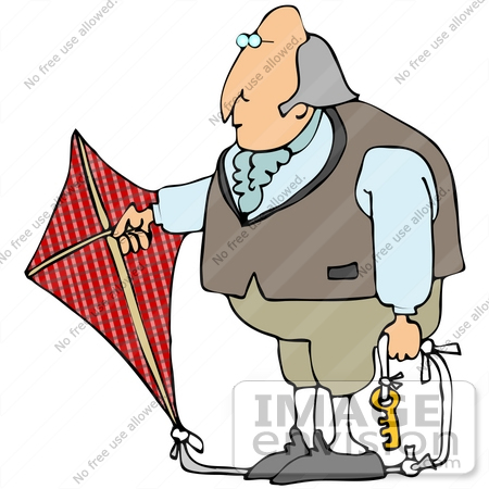 Clip Art Graphic of Benjamin Franklin Conducting His Electrical.