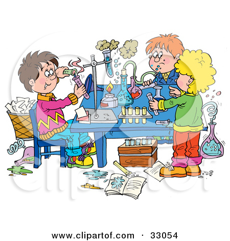Science clipart experiment with table.