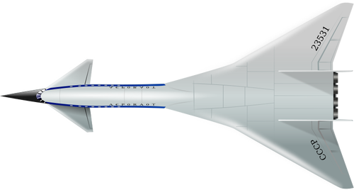 Top view of supersonic aircraft vector clip art.