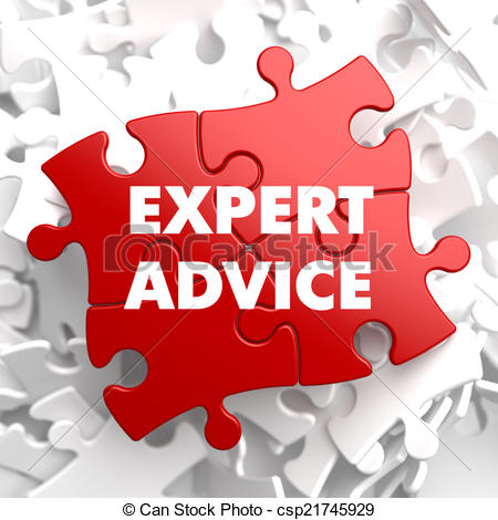 Clip Art of Expert Advice on Red Puzzle..