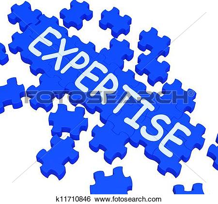 Stock Illustration of Expertise Puzzle Showing Excellent Skills.