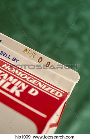 Stock Photograph of Focus on an expiration date on a homogenized.