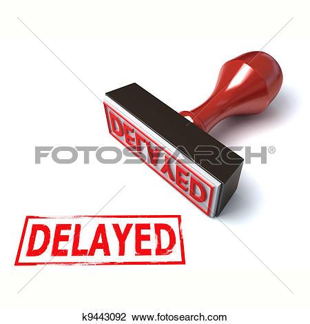 Clip Art of 3d stamp delayed k9443092.