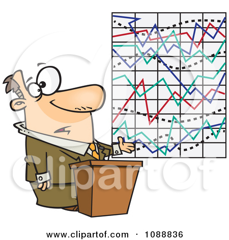 Clipart Businessman Trying To Explain A Messed Up Graph.