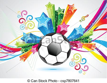 Vector Clip Art of abstract colorful football explode background.