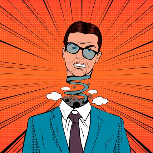 Pop Art Stressed Businessman with Exploding Head.