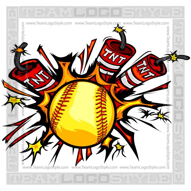 Exploding Softball Clipart.