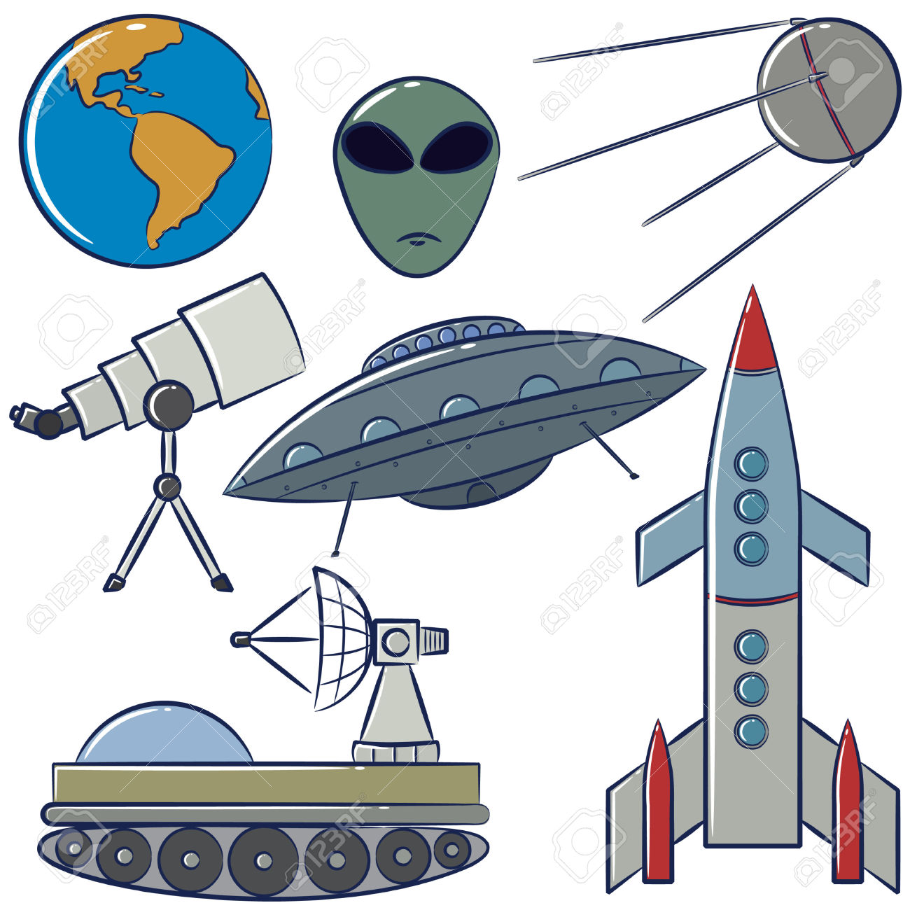 Free space exploration clipart.