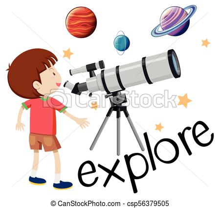Flashcard for explore with kid looking through telescope.