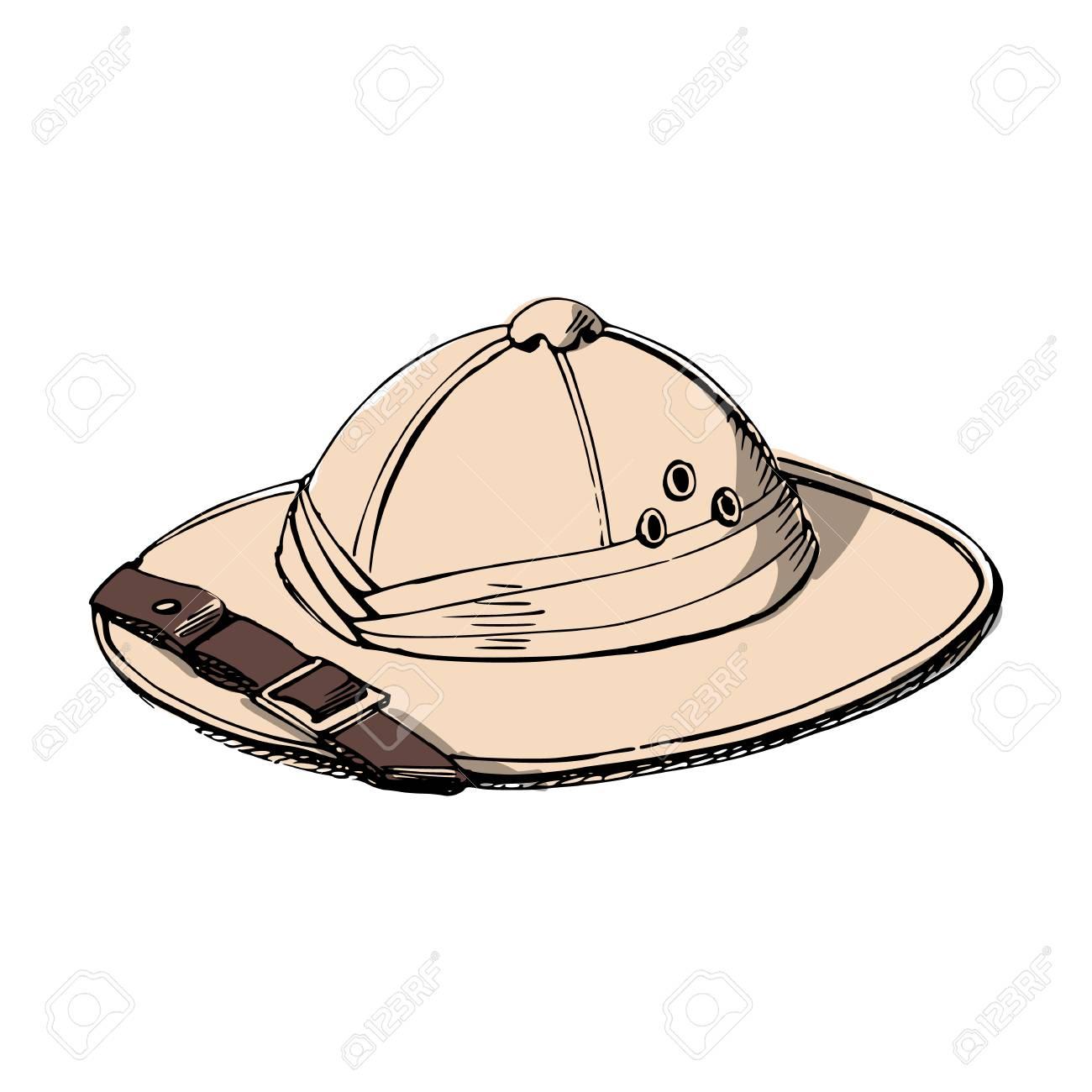 Explorer's hat Illustration on white background..