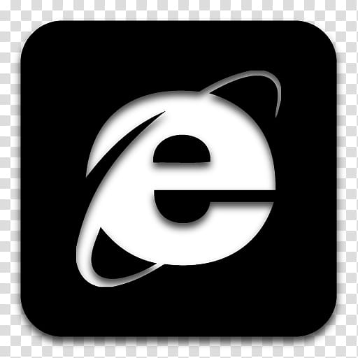 Black n White, black and white Internet Explorer icon.
