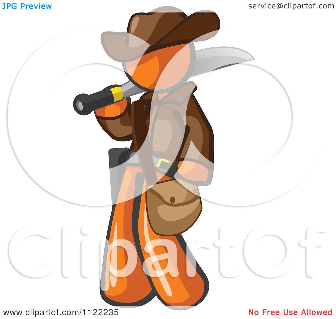Cartoon Of An Orange Explorer Man Carrying A Machete.