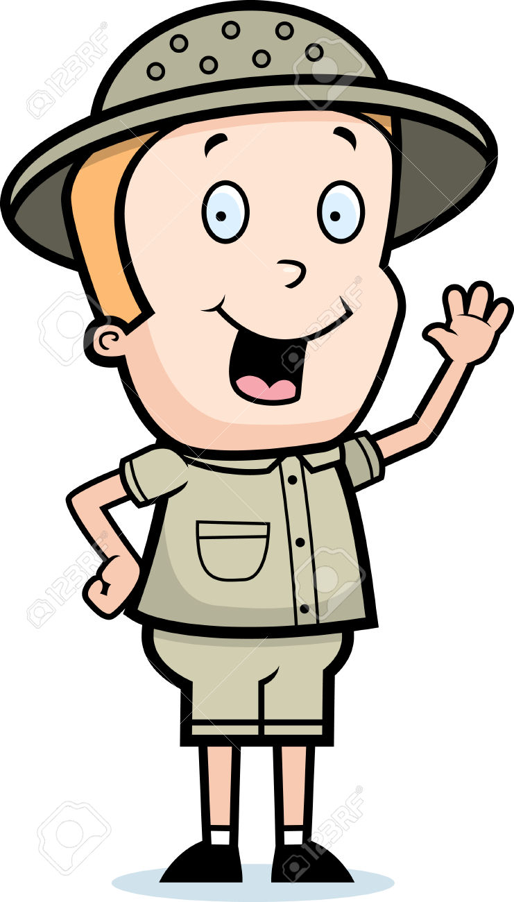 A Happy Cartoon Child Explorer Waving And Smiling. Royalty Free.