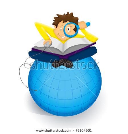 Boy Exploring Th World Wide Web Stock Illustration 79104901.