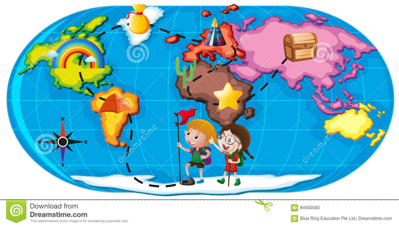 Kids Exploring The World Stock Vector.