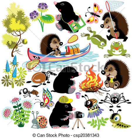 EPS Vector of set with mole and hedgehog exploring the world of.