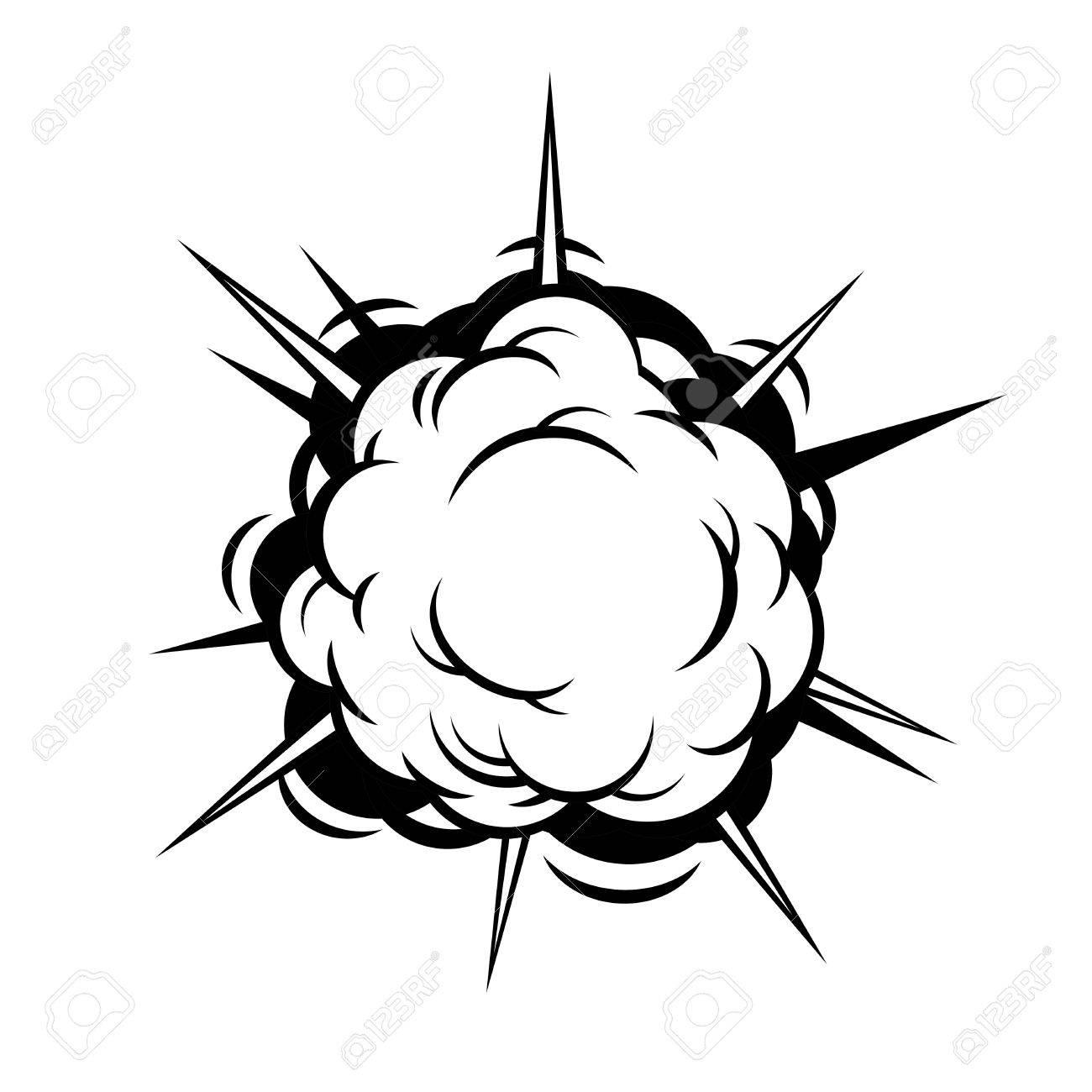 Comic Boom. Black Explosion on White Background. Vector illustration.
