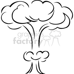 black and white mushroom cloud explosion clipart. Royalty.