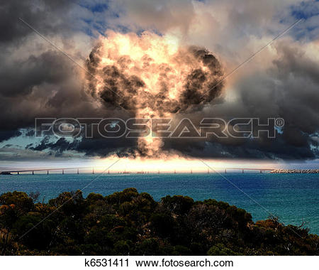 Clipart of Nuclear explosion in an outdoor setting k6531411.