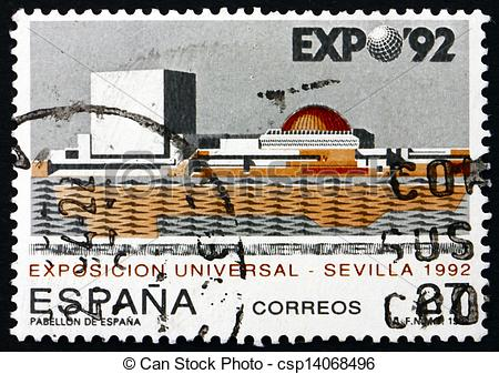 Stock Photographs of Postage stamp Spain 1992 EXPO ?92, Seville.