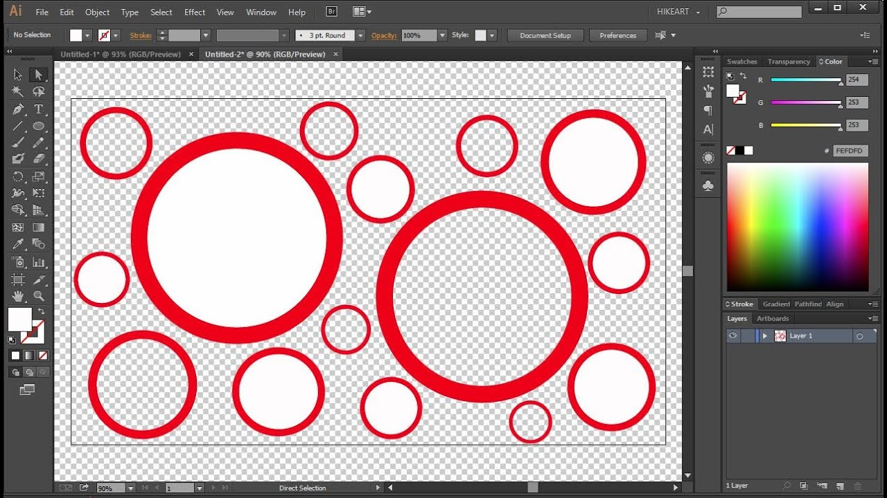 Transparent Background in Adobe Illustrator.