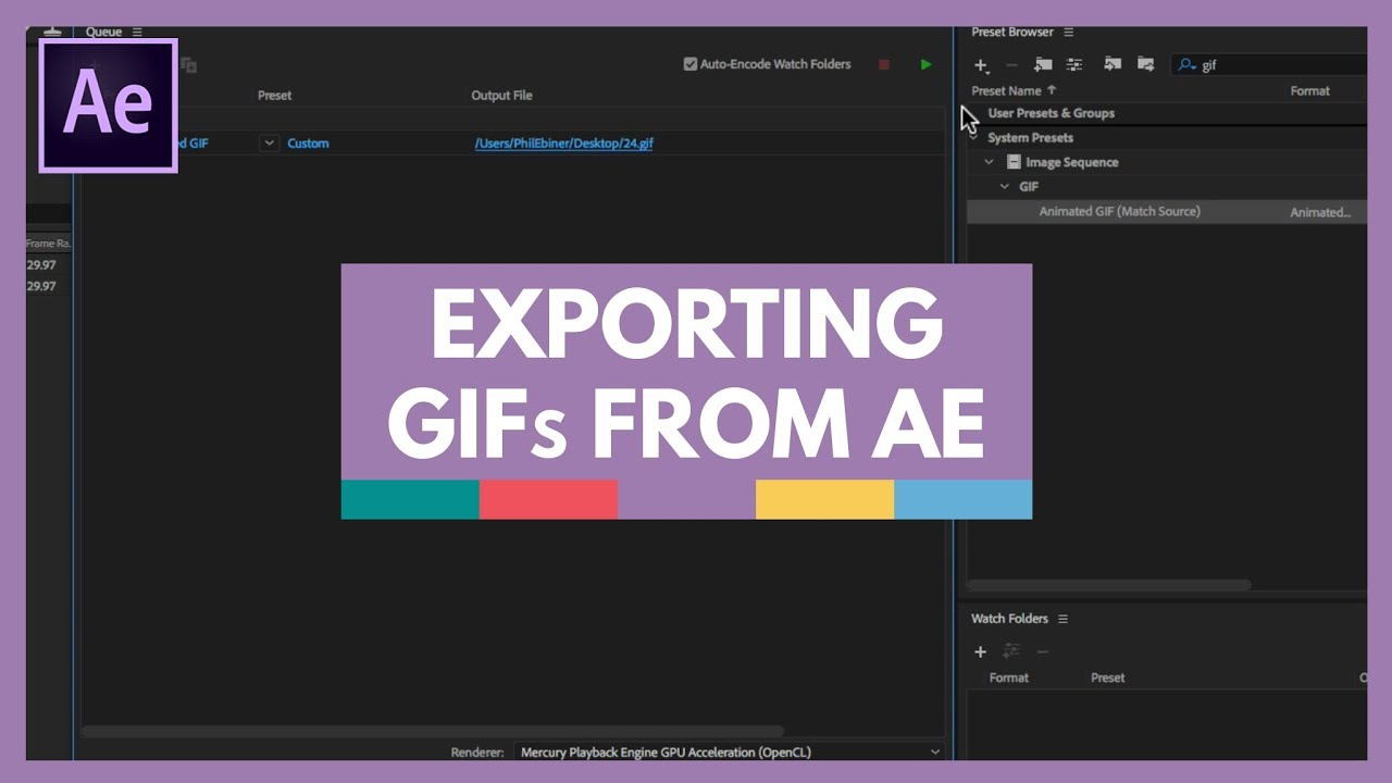 Exporting an Animated Gif from After Effects.