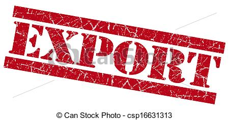 Clipart of Export red grunge stamp csp16631313.