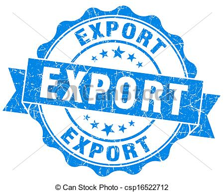Clipart of Export grunge round blue seal csp16522712.