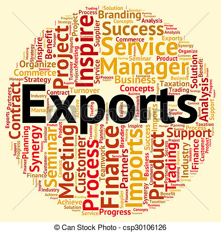 Clip Art of Exports Word Shows International Selling And Exporting.