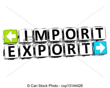 Clip Art of 3D Import Export Button Click Here Block Text over.